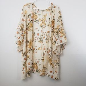 Easel Floral Bell Sleeve Boho Kimono